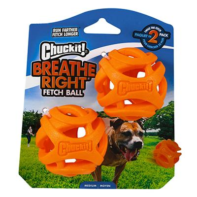 Chuckit Medium Breathe Right Dog Fetch Ball 2pk Click for larger image