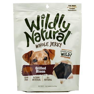 Wildly Natural Grilled Bison Jerky Strips Dog Treats 5oz Click for larger image