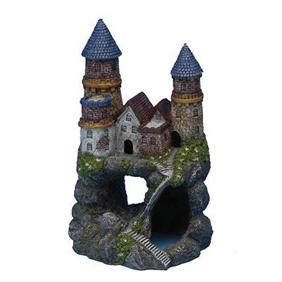 Hand Painted Enchanted Castle Aquarium Ornament Medium Click for larger image