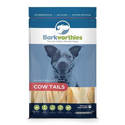 Barkworthies Bag of Cow Tail Dog Chews 6oz Click for larger image
