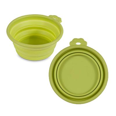 Silicone Pet Food Water Travel Bowl Green 1.5 Cups