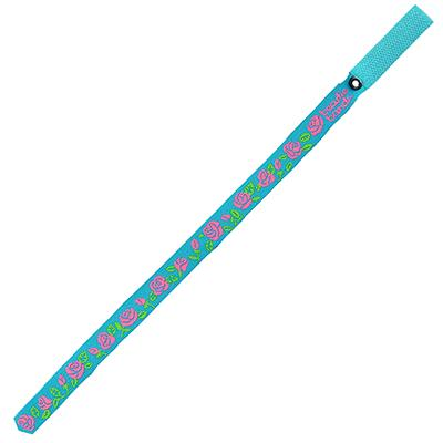 Beastie Band Cat Collar Pink Roses (Teal) Click for larger image