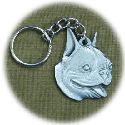 Pewter Key Chain I Love My Boston Terrier