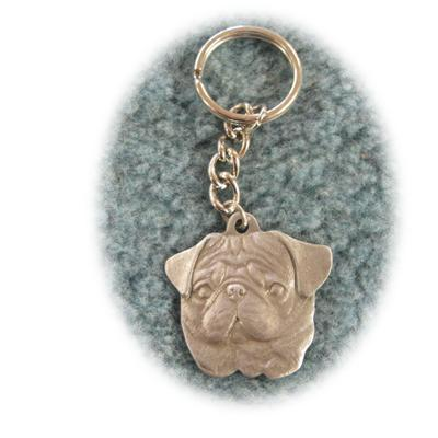 Pewter Key Chain I Love My Pug Click for larger image
