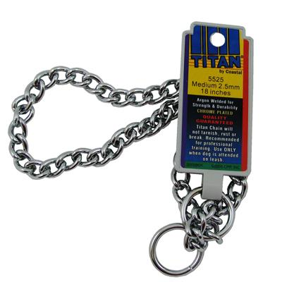 Coastal Titan Chrome Steel Dog Choke Chain Medium 18 inch Click for larger image