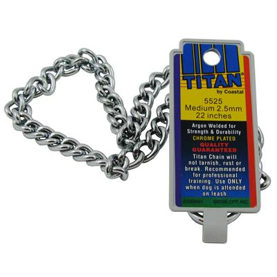 Coastal Titan Chrome Steel Dog Choke Chain Medium 22 inch Click for larger image