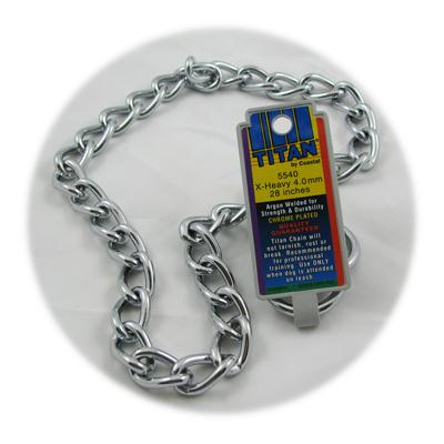 Coastal Titan Chrome Steel Dog Choke Chain XHeavy 28 inch