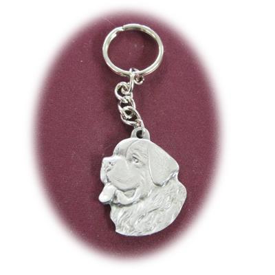 Pewter Key Chain I Love My Saint Bernard
