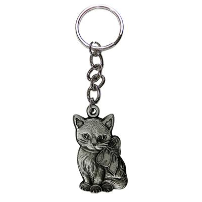 Pewter Key Chain I Love My Kitty Painted