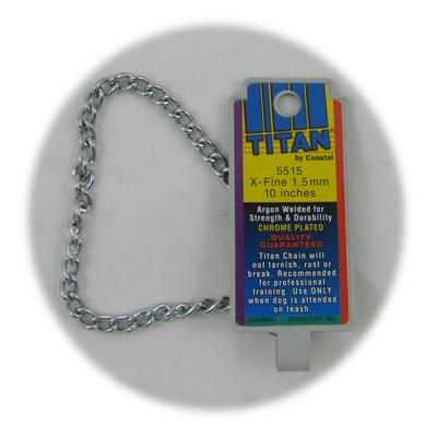 Coastal Titan Chrome Steel Dog Choke Chain XFine 10 inch Click for larger image