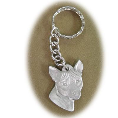Pewter Key Chain I Love My Basenji