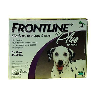 Frontline PLUS Dog 45-88 lb 3 pack Flea and Tick Treatment