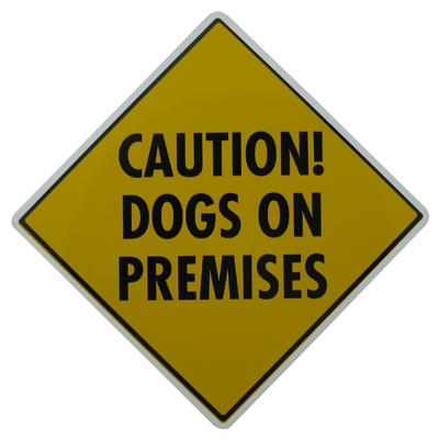 Caution Dogs on Premises Sign 12 x 12 inches Aluminum