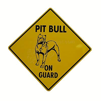 Pit Bull on Guard Sign 12 x 12 inches