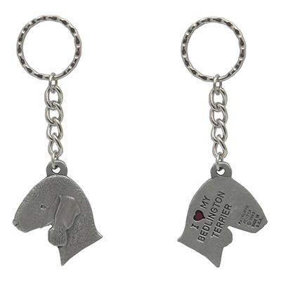 Pewter Key Chain I Love My Bedlington Terrier
