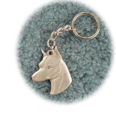 Pewter Key Chain I Love My Miniature Pinscher Click for larger image