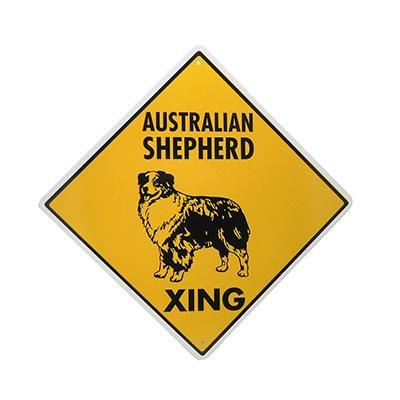Sign Australian Shepherd Xing 12 x 12 inch Aluminum Click for larger image