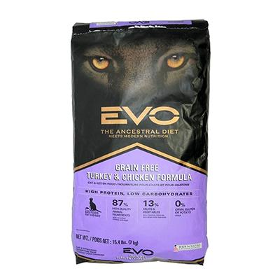 Evo Turkey and Chicken Cat Food 15.4 lb