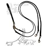 Pet Walker-Plus Black Leather 2-Dog Leash Small