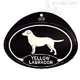 Euro Style Oval Dog Decal Yellow Labrador