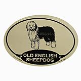 Euro Style Oval Dog Decal Old English Sheepdog