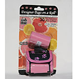 Pink Designer Dog Waste Bag Dispenser with 2 Scented Rolls