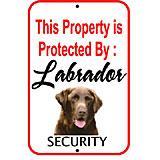 Sign Labrador Chocolate Security 12 x 18 inch Aluminum