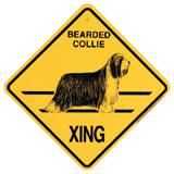 Xing Sign Bearded Collie Plastic 10.5 x 10.5 inches