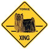 Xing Sign Yorkie Long Coat Plastic 10.5 x 10.5 inches