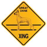 Xing Sign Great Dane Cropped Plastic 10.5 x 10.5 inches