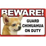 Sign Guard Chihuahua Apple On Duty 8 x 4.75 inch Laminated
