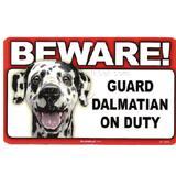 Sign Guard Dalmatian On Duty 8 x 4.75 inch Laminated