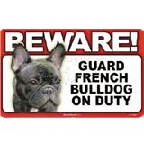 Sign Guard French Bulldog On Duty 8 x 4.75 inch Laminated