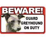 Sign Guard Greyhound On Duty 8 x 4.75 inch Laminated