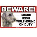 Sign Guard Irish Wolfhound On Duty 8 x 4.75 inch Laminated