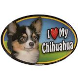 Dog Breed Image Magnet Oval Chihuahua Long Haired