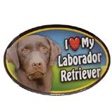 Dog Breed Image Magnet Oval Laborador Chocolate