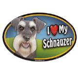 Dog Breed Image Magnet Oval Schnauzer