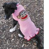 Handmade Dog Sweater Wool Pink Monkey Large