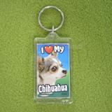 Plastic Keyring Chihuahua Multi Color title=