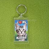 Plastic Keyring Kitten Tabby Light