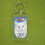 Plastic Keyring Cat Long White