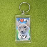 Plastic Keyring Cat Siamese Light