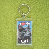 Plastic Keyring Cat Norwegian Grey