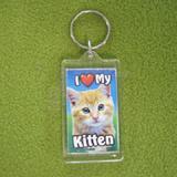 Plastic Keyring Kitten Orange