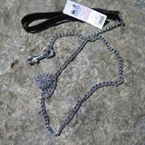 Chain Lead 4ft with Black Handle 2.0mm links Dog Leash