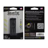 Gear Tie 3 inch Black Reusable Rubber Twist Tie 4pk
