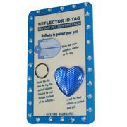 Reflex Small Heart Reflecting Dog Tag Blue