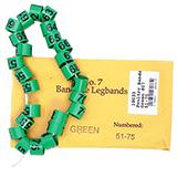Poultry Numbered Leg Bands Green Size 7 Numbered 51-75