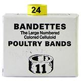 Poultry Numbered Leg Bands Yellow Size 11 Numbered 1-25